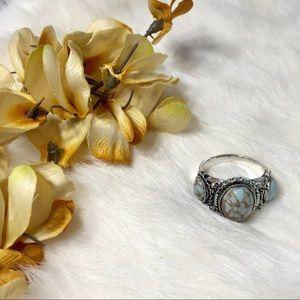 5/$25 Silver Tone Boho Ring Veined Blue Stones